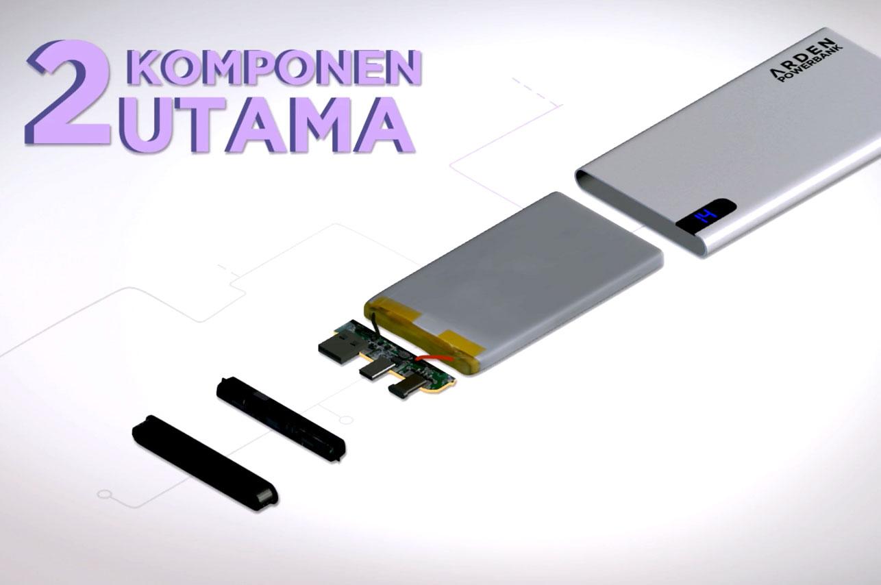 komponen utama powerbank papan pcb dan batere